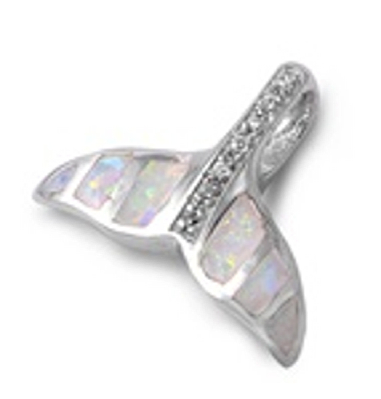 Sterling Silver Girls .8mm Whale Fluke Pendant Necklace Simulated Opal And Cubic Zirconia Center