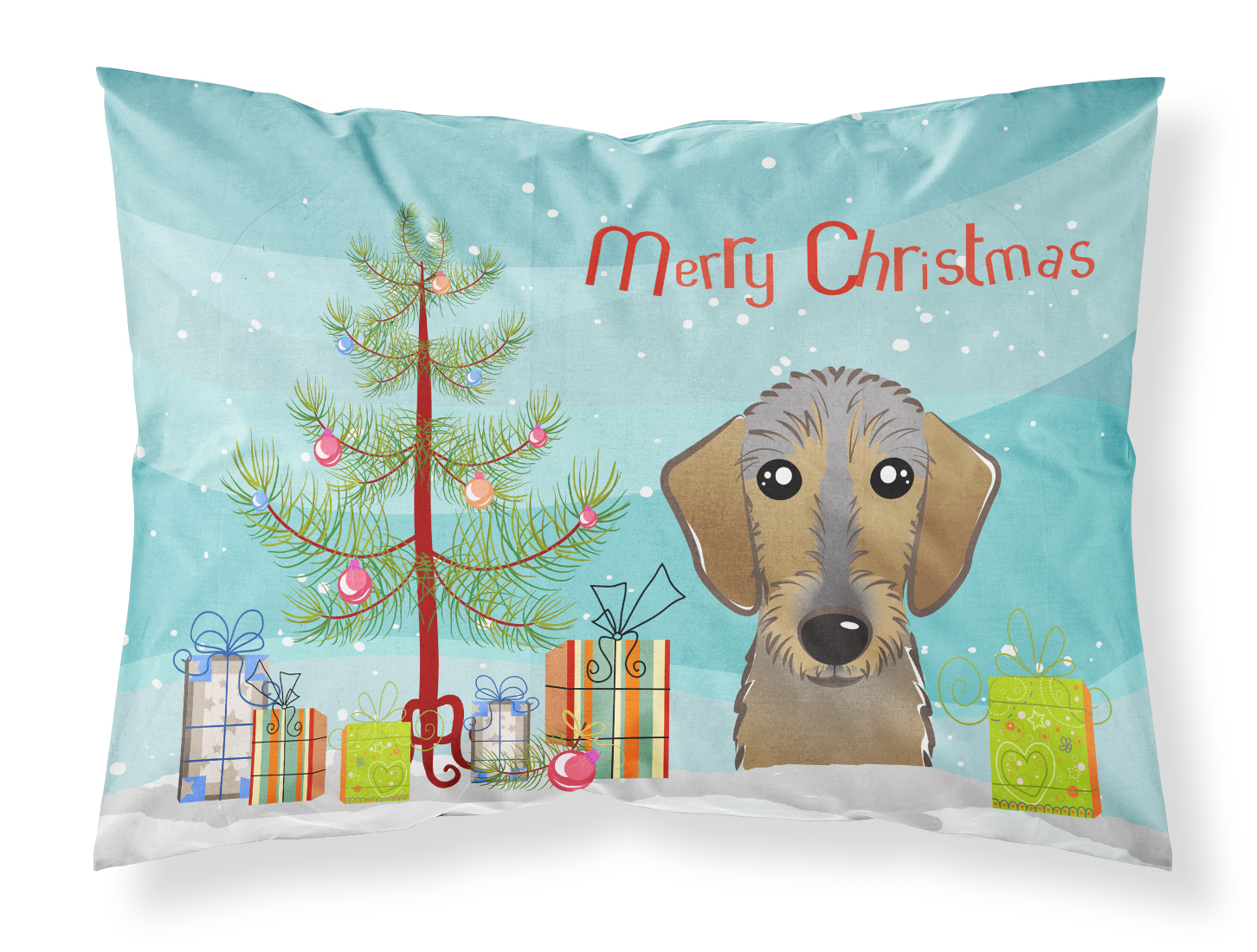 Christmas Tree and Wirehaired Dachshund Fabric Standard Pillowcase ...