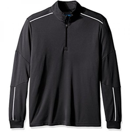 Pga Tour Mens Elements Long Sleeve Water Repellent 1 4 Zip Mock Sweater  Asphalt  L