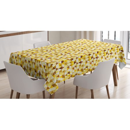 Abstract Tablecloth Triangle Pattern With Rhombus Shape Geometric Funky Shapes Vintage Art Rectangular Table
