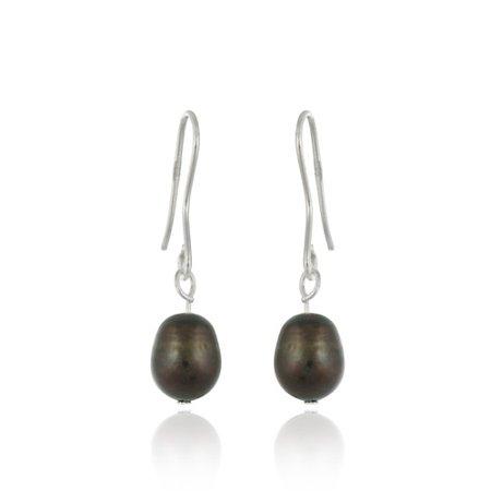 Baroque Freshwater Pearl Earrings - Sterling Silver Baroque Freshwater Cultured Brown Pearl Earrings