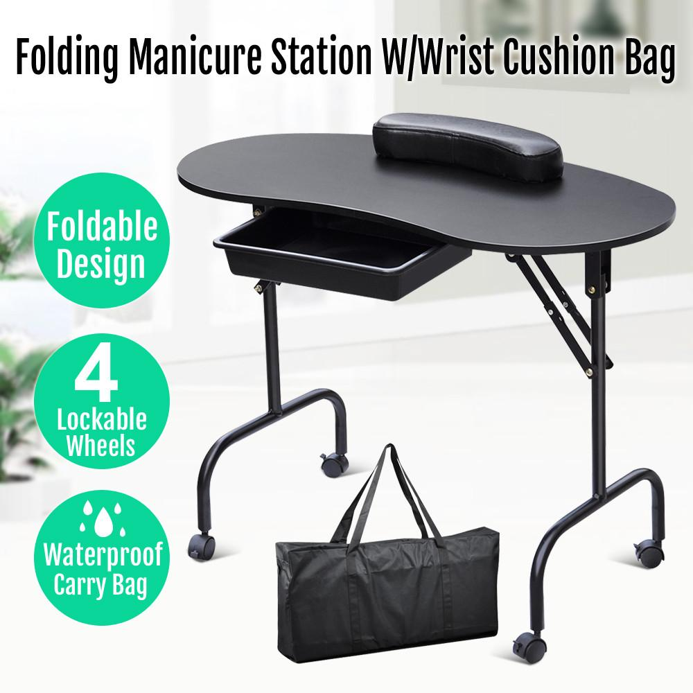 Yaheetech Portable & Foldable Black Manicure Nail Table Station Desk Spa Beauty Salon Equipment W/Bag