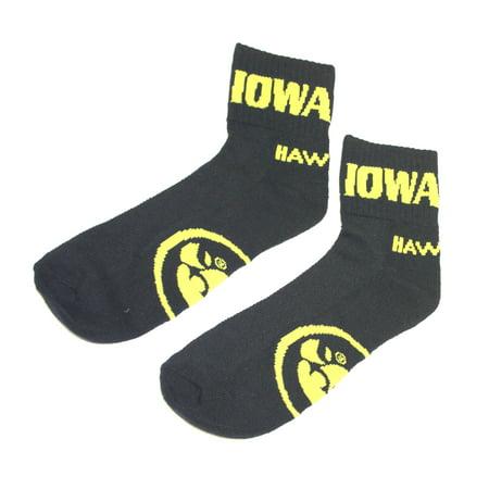 Iowa Quarters - Iowa Hawkeyes Black Quarter Sock
