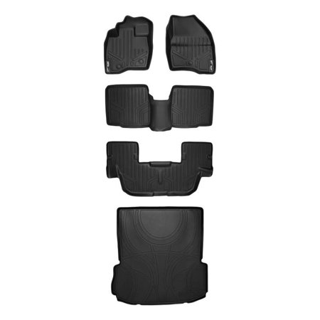 Maxliner 2017-2019 Ford Explorer Without 2nd Row Center Console Floor Mats 3 Rows Maxtray Cargo Liner Set Black A0245/B0082/C0082/D0082 ()