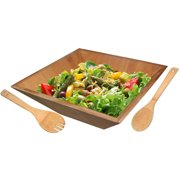Home Basics Salad Bowl with Serving Utensils, Bamboo