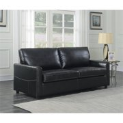 Pemberly Row Newton Black Queen Faux Leather Sleeper Sofa