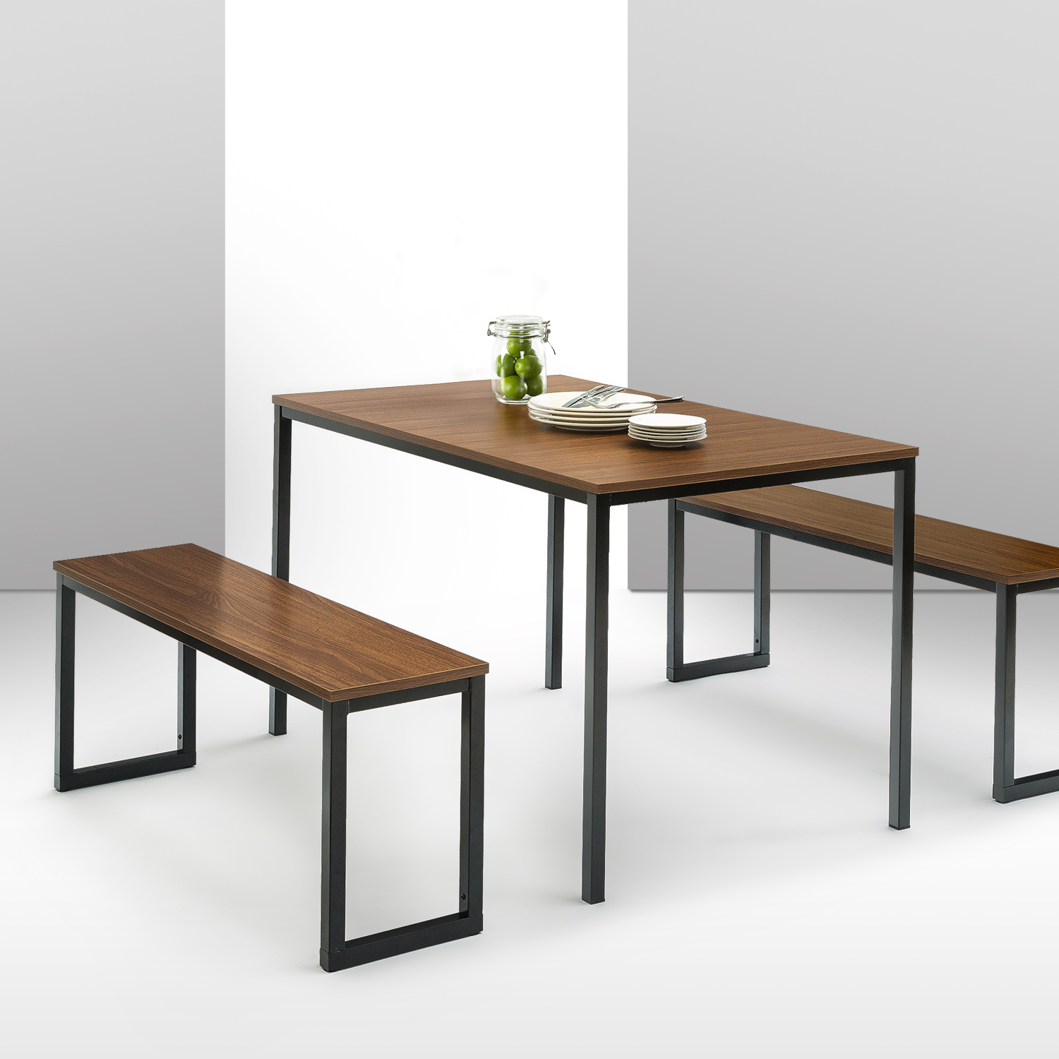 Soho Dining 3 Piece Table With Two Benches Set Brown