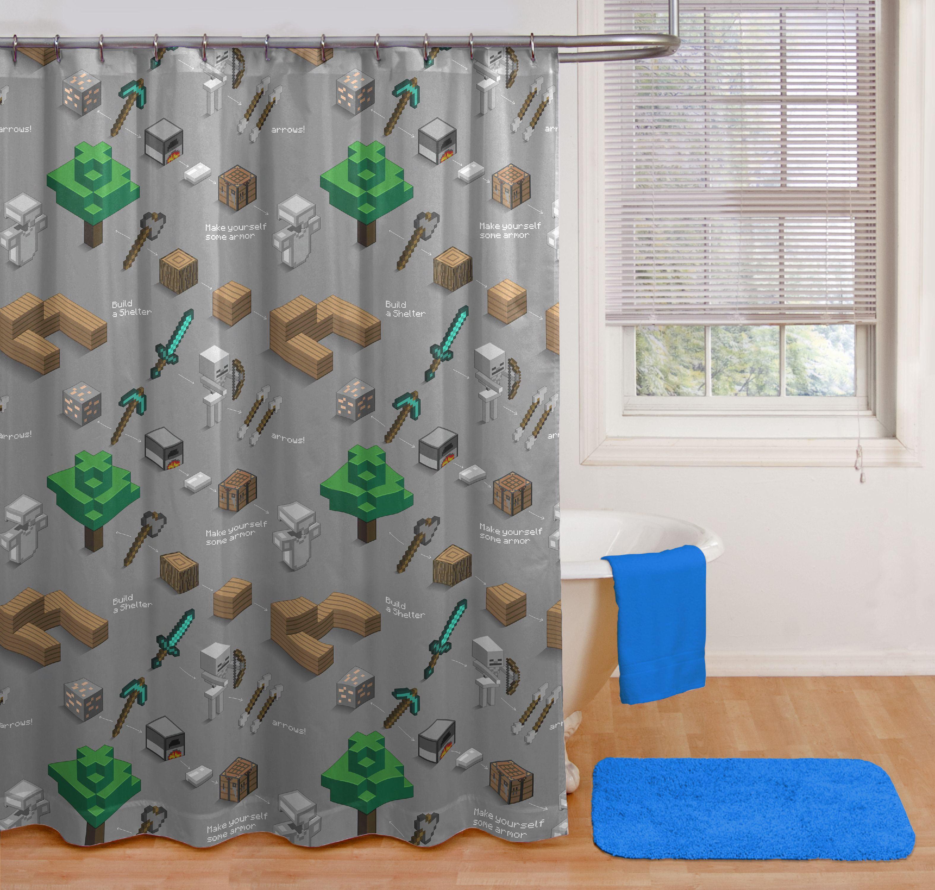 "NEW Minecraft Shower Curtain 100/% Polyester 72""x72""Kids Bathroom"