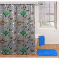 Minecraft Survive Shower Curtain and Hooks Set