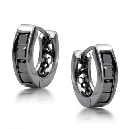Black On Black Square Cubic Zirconia Princess Cut CZ Small Huggie Hoop Kpop Earrings For Men For Women Sterling Silver - image 3 de 5