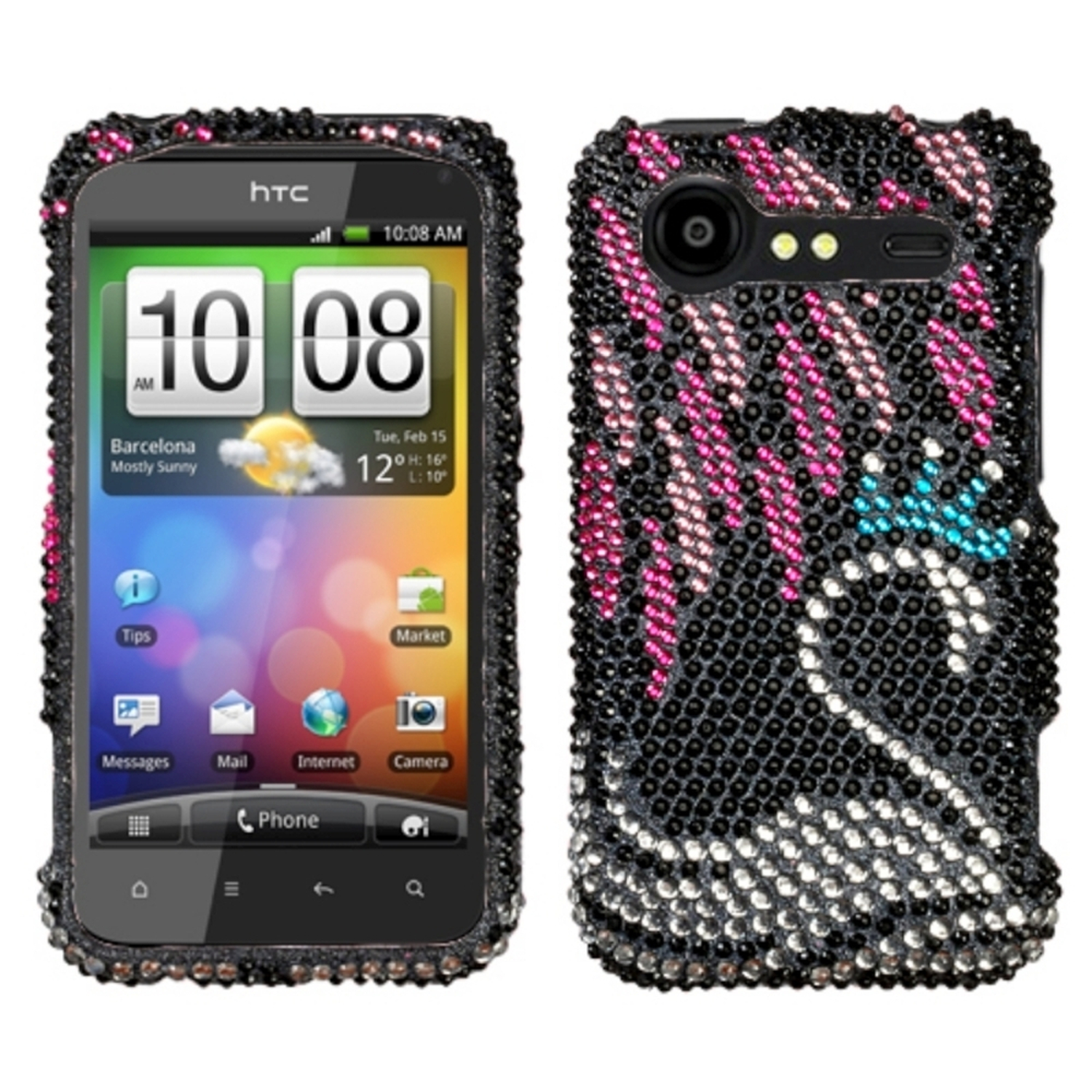 Insten Swan Diamante Phone Case for HTC: ADR6350 (Droid Incredible 2)