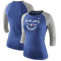 Toronto Blue Jays Nike Women's Tri-Blend Raglan 3/4-Sleeve T-Shirt - Heathered Royal