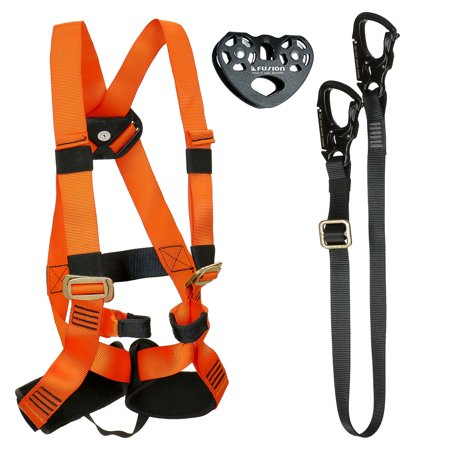 Fusion Climb Tactical Edition Kids Commercial Zip Line Kit Harness/Lanyard/Trolley Bundle - Zip Line Kit