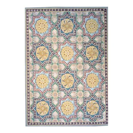 Pasargad Carpets 153-G 9X12 9 ft. x 12 ft. 5 in. Aubusson Hand-Woven New Zealand Wool Area Rug, Green