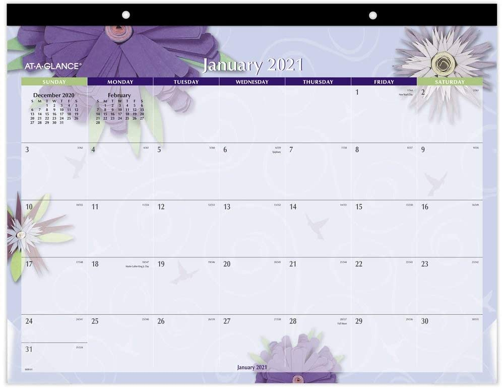 2021 Desk Calendar by AT-A-GLANCE, Monthly Desk Pad, 21-3 ...