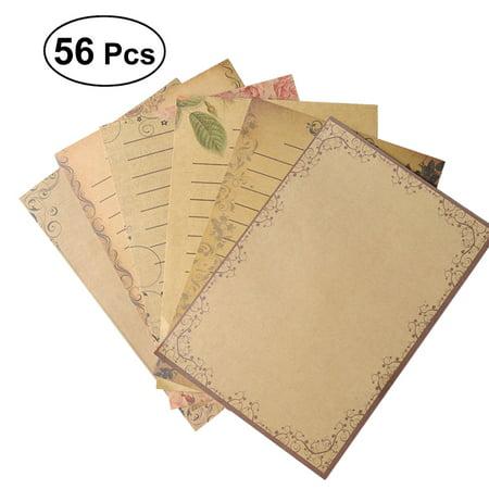 Letter Writing Set - 56Pcs Kraft Paper Retro Writing Paper Vintage Letter Paper Stationery Set (7 Colors)