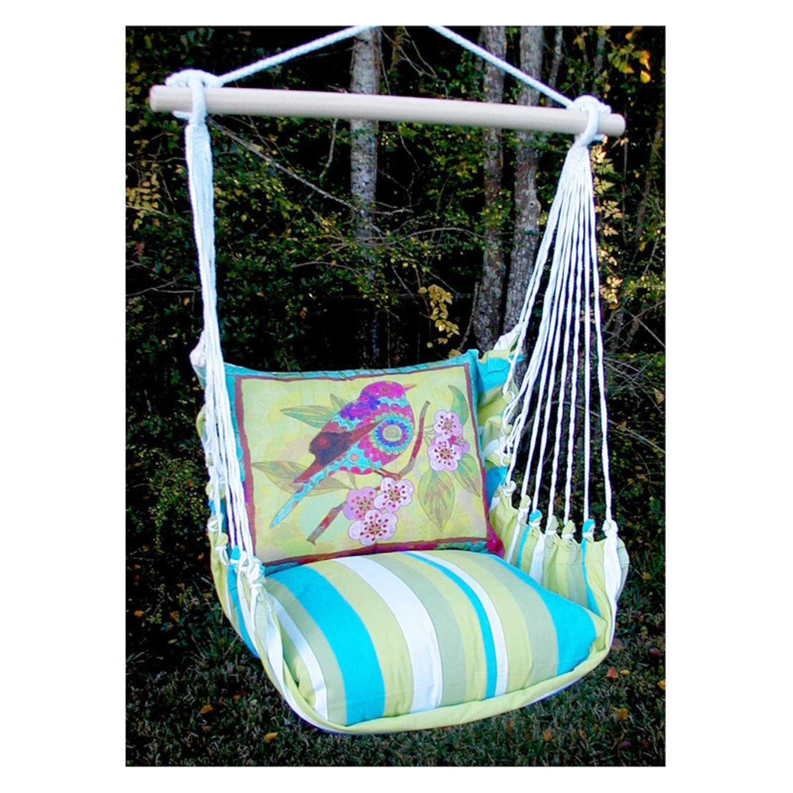 Magnolia Casual Bright Birds Hammock Chair and Pillow Set