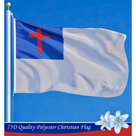 G128 - Christian Flag Christian Cross Religious Church Flag Christianity Banner Church Pennant 3x5ft Printed Quality Polyester with Brass Grommets Double Stitched