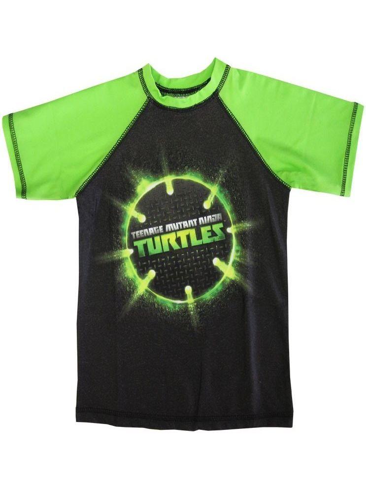 Nickelodeon Boys Green Black TMNT Ball Print Short Sleeve Rashguard