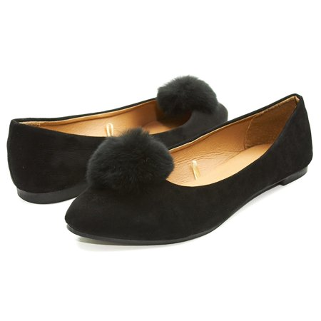Sara Z Womens Microsuede Velvet Pointed Ballet Flat Shoes with Pom Pom Black Size 11