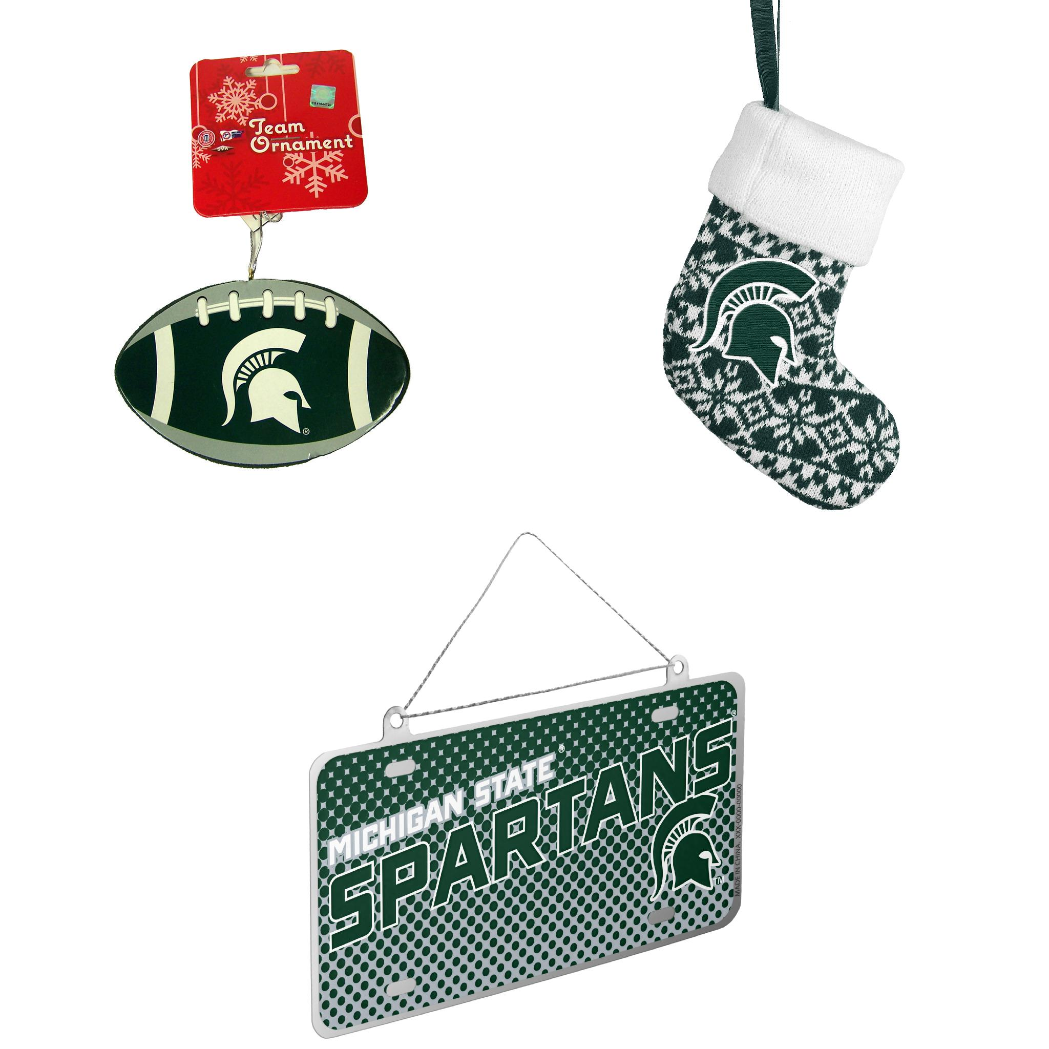 NCAA Michigan State Spartans Foam Christmas Ball Ornament ORNAMENT STOCKING KNIT Metal License Plate Bundle 3 Pack By Forever Collectibles