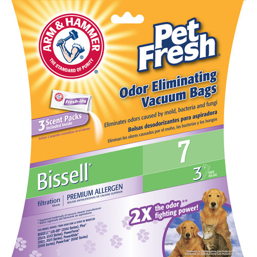 Arm & Hammer Premium Filtration Pet Fresh Odor Eliminating Vacuum Bags, Bissell 7 Pet Fresh, 3 Pack