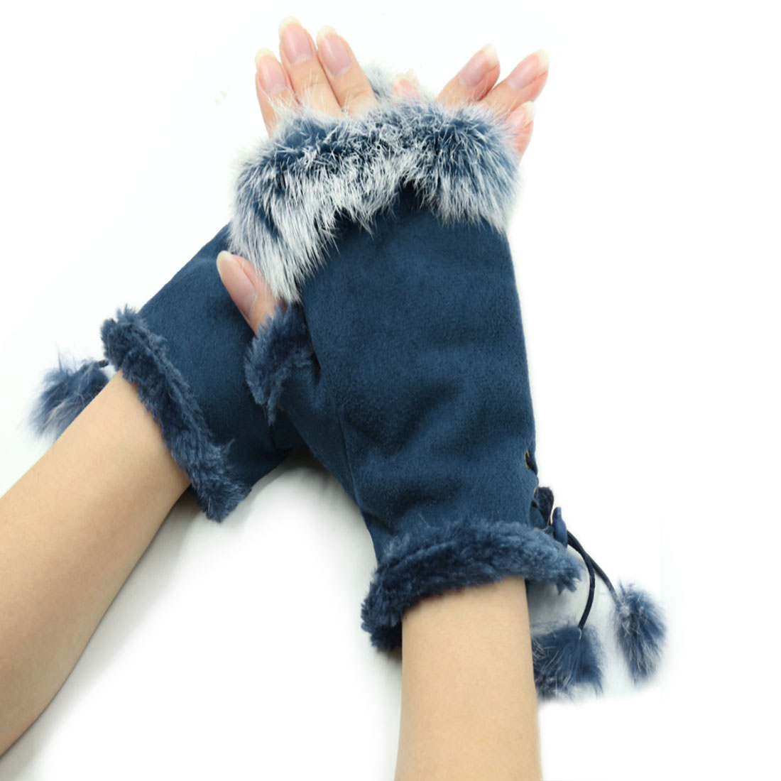 Unique Bargains Women's Plush Trim Soft Lined Lace Up Design Fingerless Gloves Blue