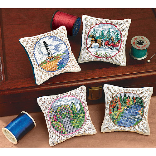 "Four Seasons Pincushions Counted Cross Stitch Kit, 3-1/2"" x 3-1/2"", Set of 4"