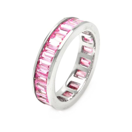 Channel Set Simulated Tourmaline Baguette Cubic Zirconia Eternity Ring Sterling Silver Size (Channel Set Baguette Ring)