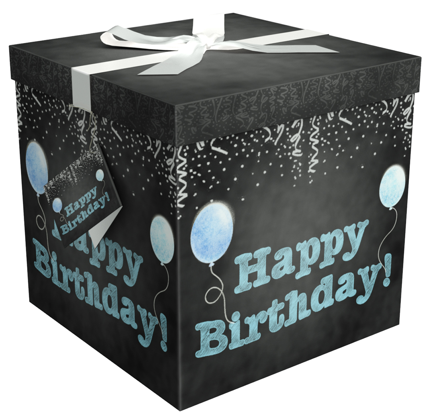 Gift Box 12x12x12 Amrita Birthday Collection- Easy to Assemble & Reusable - No Glue Required - Ribbon, Tissue Paper, and Gift Tag Included - EZ Gift Box by Endless Art US