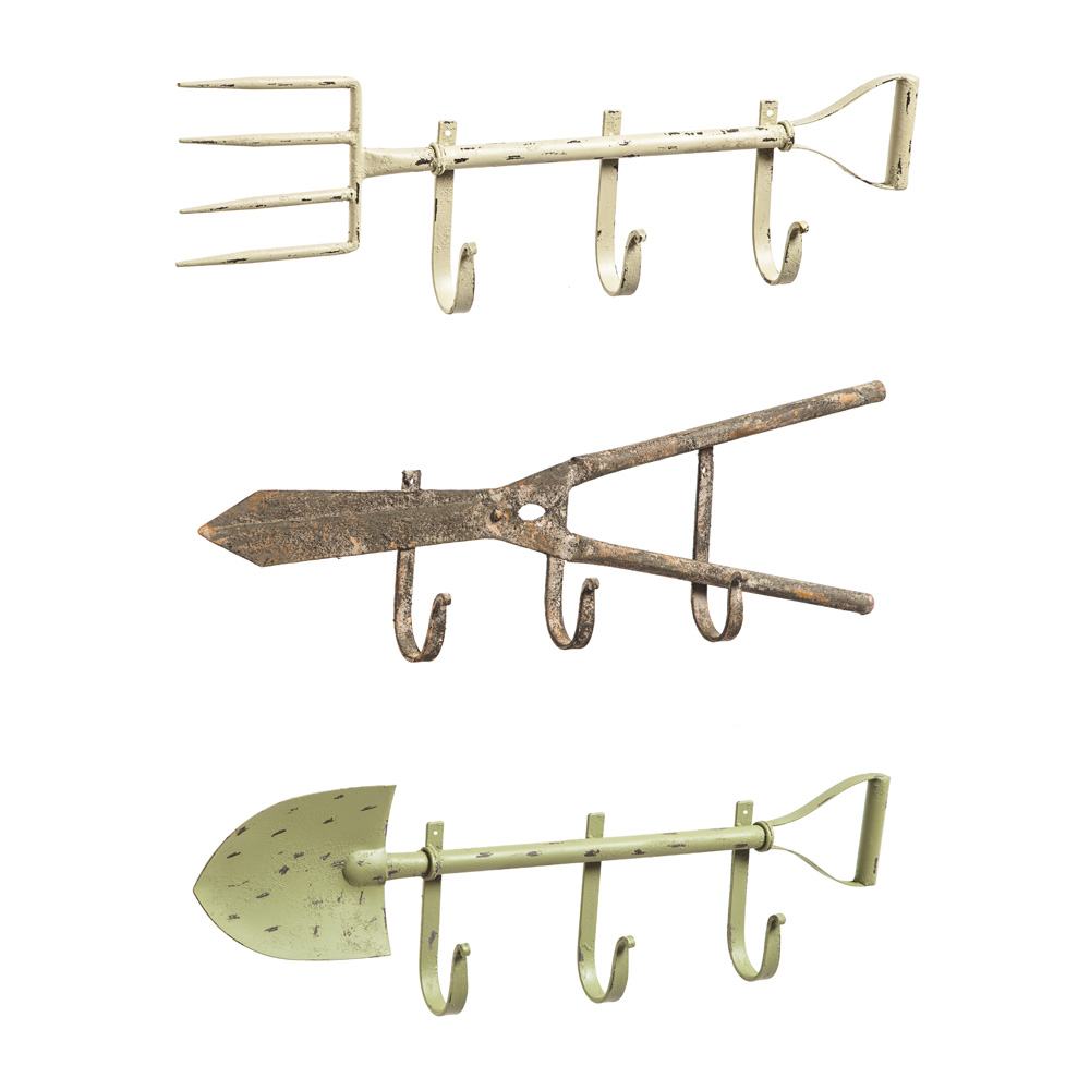 Set Of 3, Metal Garden Tool Wall Hooks