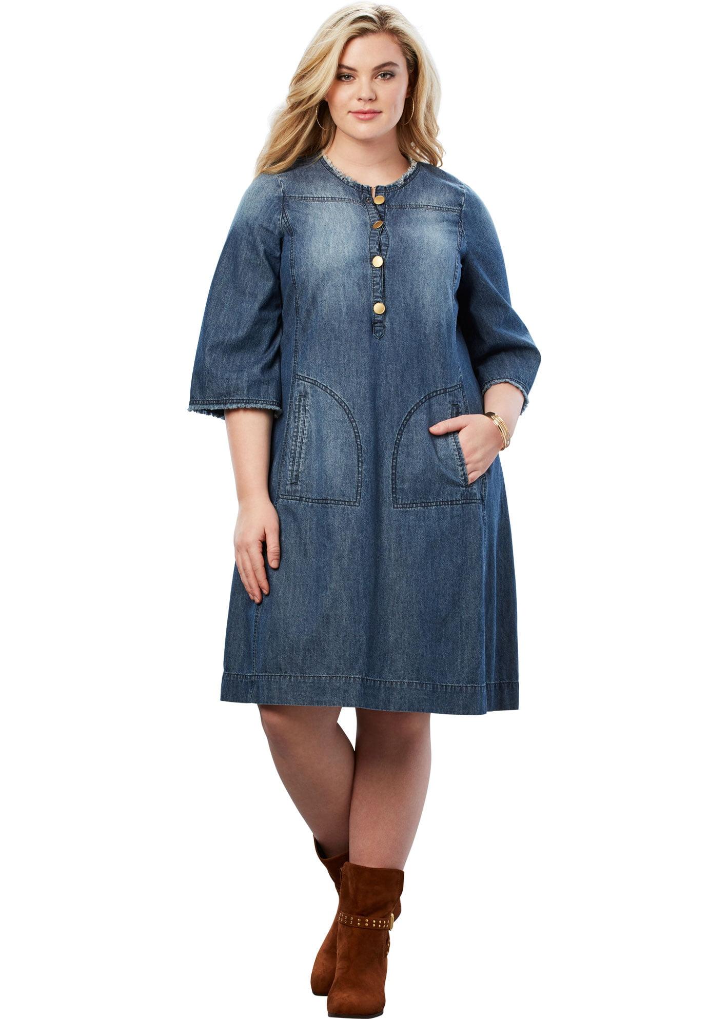 Roaman\'s - Roaman\'s Plus Size Denim Shirt Dress - Walmart.com