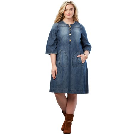 Roaman\'s - Roaman\'s Plus Size Denim Shirt Dress - Walmart.com