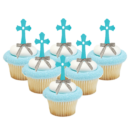 Blue Cross Silver Bow Cupcake Decoration Topper Picks -24pk](Cross Cupcake Toppers)