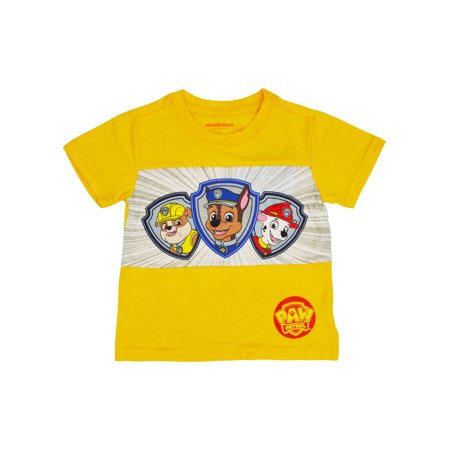 Toddler Boys Paw Patrol Shield T-Shirt -  Chase Marshall Rubble Yellow