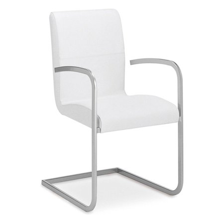 Casabianca Stella Italian White Leather Arm Dining Chair ()