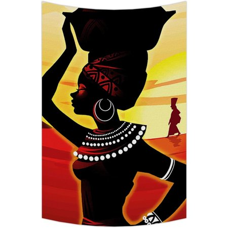 GCKG African Woman Tapestry,African Woman Wall Hanging Wall Decor Art for Living Room Bedroom Dorm Cotton Linen Decoration Size 90x60 inches