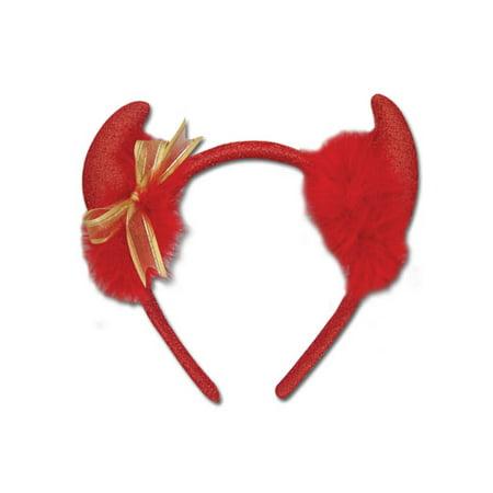 Devil Horns Red Glitter Sparkle Gold Ribbon Anime Cosplay Headband GE-6327 (Gold Devil Horns)