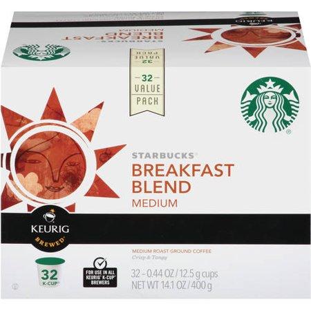 Starbucks Breakfast Blend Medium Roast Ground Coffee K-Cup Pods, 32 count