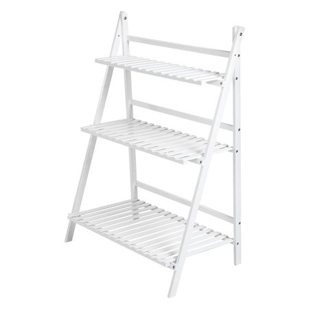 3 Tier Folding Shelf - VGEBY 3 Layers Banboo Plant Flower Stand Storage Rack Folding Bookcase Bookshelf, 3-Tier Ladder Planter Organizer Display Shelf for Indoor & Outdoor Greenhouse Home Office Patio Garde Bacony Holder