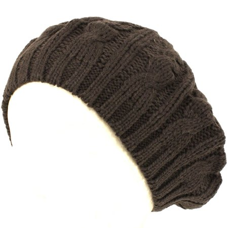 Cable Knit Winter Ski Beret Knit Tam Skull Hat Charcoal Grey, 100% Super Soft Acrylic By KNIT CAPS](Tam Hat)