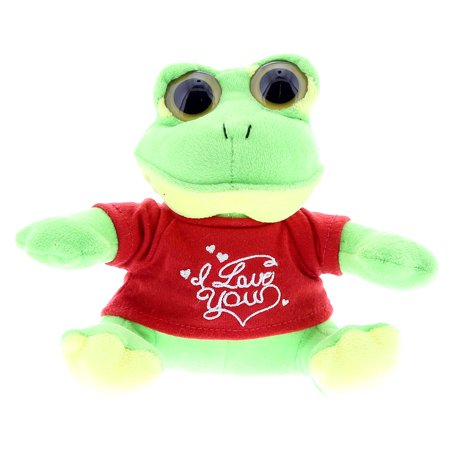 Super Soft Plush Dollibu Green Frog Big Eye Red I Love You Shirt Valentines (Red Frog)