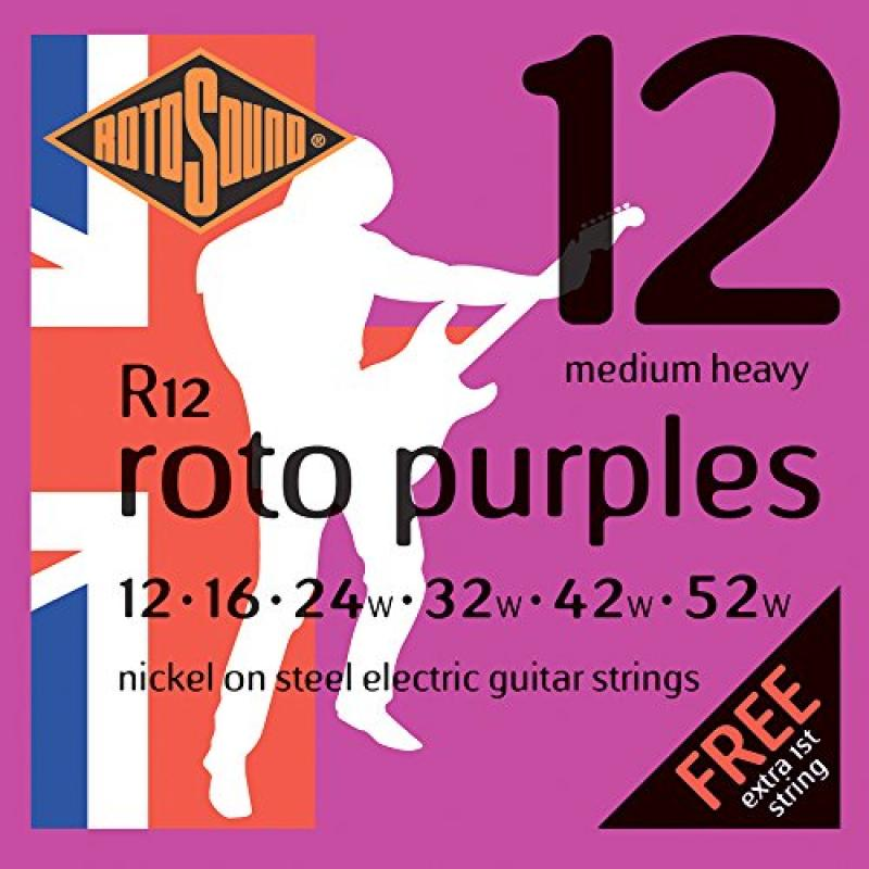 Rotosound R12 Nickel Medium Heavy Electric Guitar Strings (12 16 24 32 42 52) by Rotosound