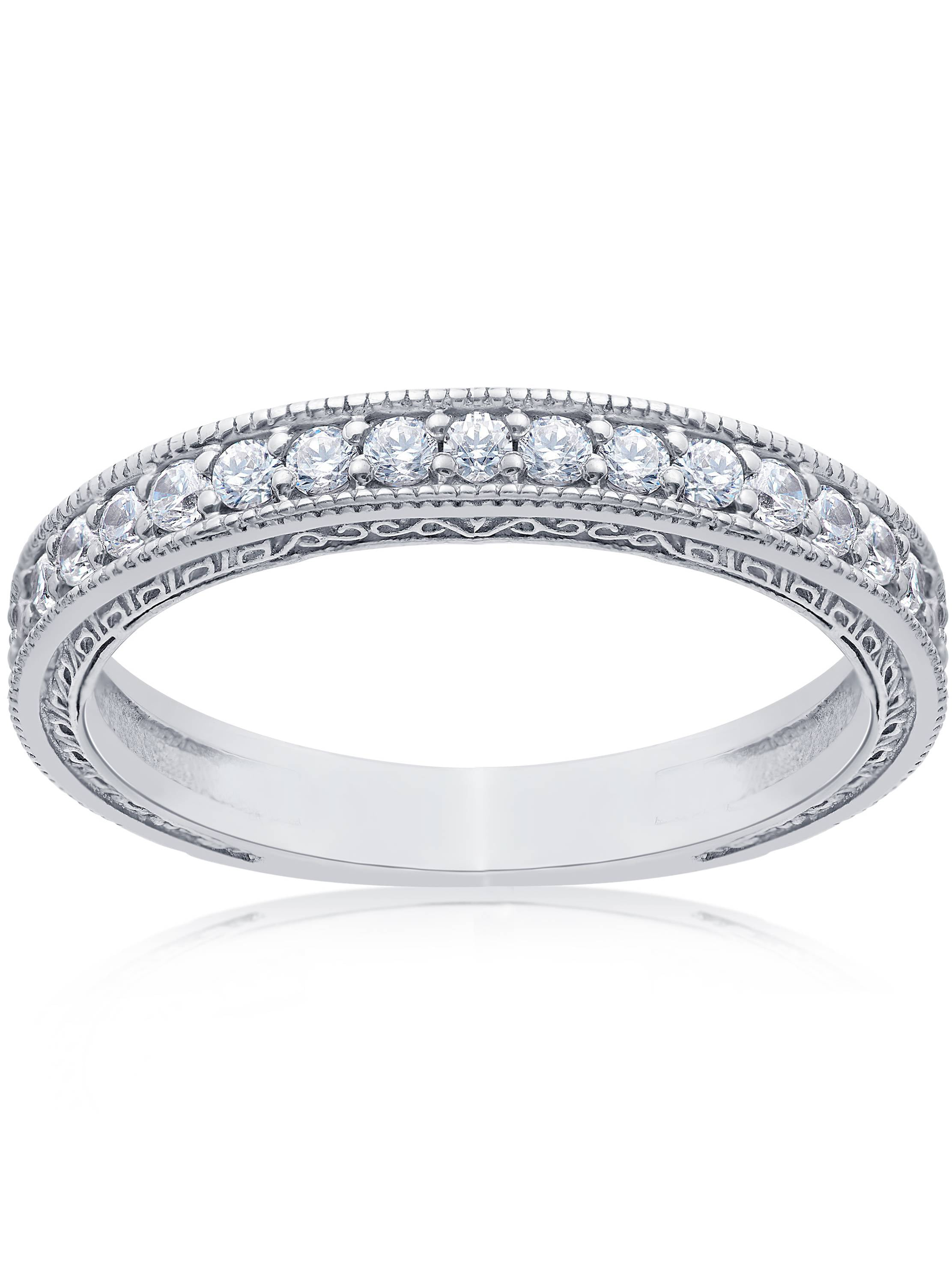 1 2ct Vintage Diamond Wedding Ring 14K White Gold Womens Stackable Band by Pompeii3