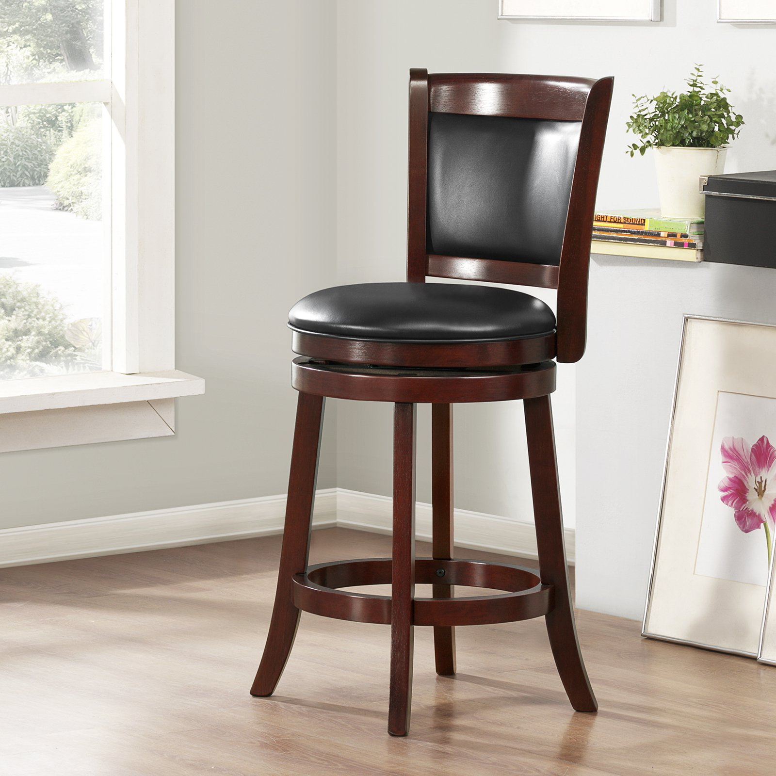 Weston Home Shapel 24 Swivel Cushion Back Counter Stool With Faux