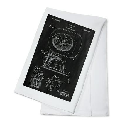 Cotton Helmet (Blackboard Patent - Fire Helmet - Lantern Press Artwork (100% Cotton Kitchen)