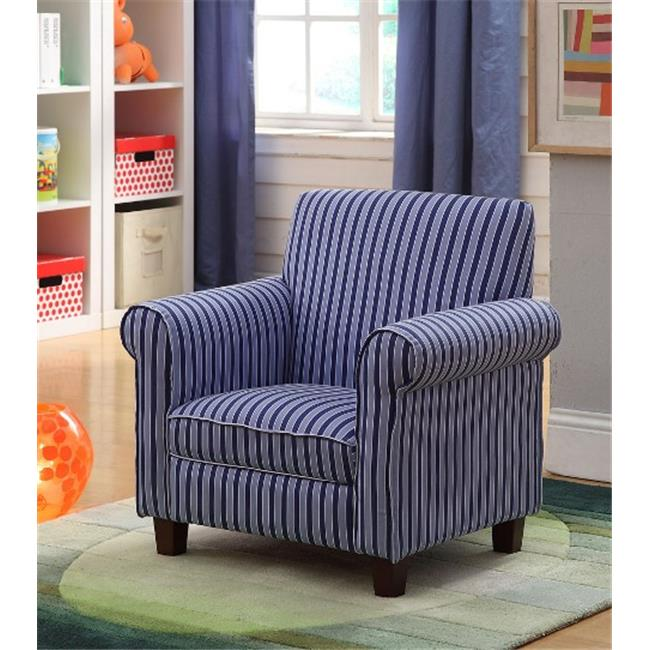 Kinfine K4096C-A319 Juvenile Kids Club Chair with Blue Striped