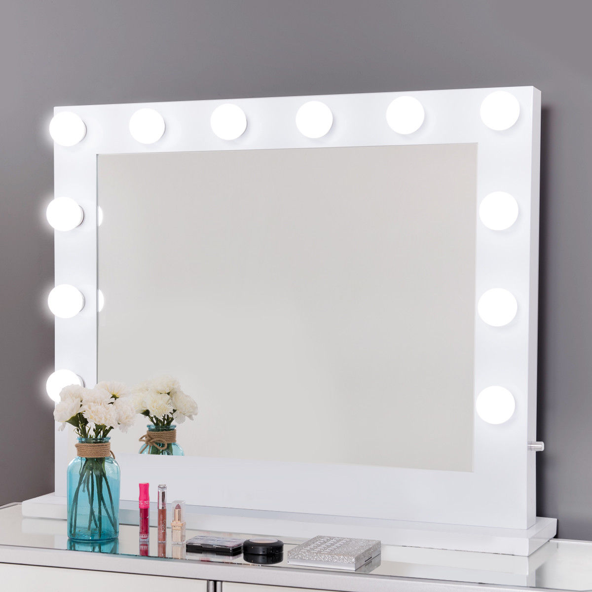 Gymax Hollywood Lighted Makeup Vanity Dressing Mirror Tabletop Mirror  Dimmer LED White   Walmart.com