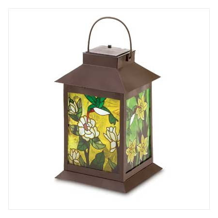 Lit Glass Panel - Solar Powered Floral Lantern, When lit from within, the stained glass panels of this stylish lantern come alive with jewel-like colors, turning captured sunlight.., By Eastwind from USA