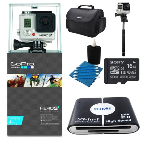 gopro camera hd hero3 silver edition deluxe kit includes camera card rea. Black Bedroom Furniture Sets. Home Design Ideas